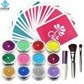 Kit OPHIR 12 Cores Em Pó Brilho Brilho Tatuagem Temporária para a Arte Corporal Pintura Projeto com Cola Stencil & Brushes