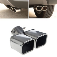 Stainless Steel Car Rear Round Exhaust Dual Pipe Tail Throat Muffler Universal Mufflers Auto Replacement Parts