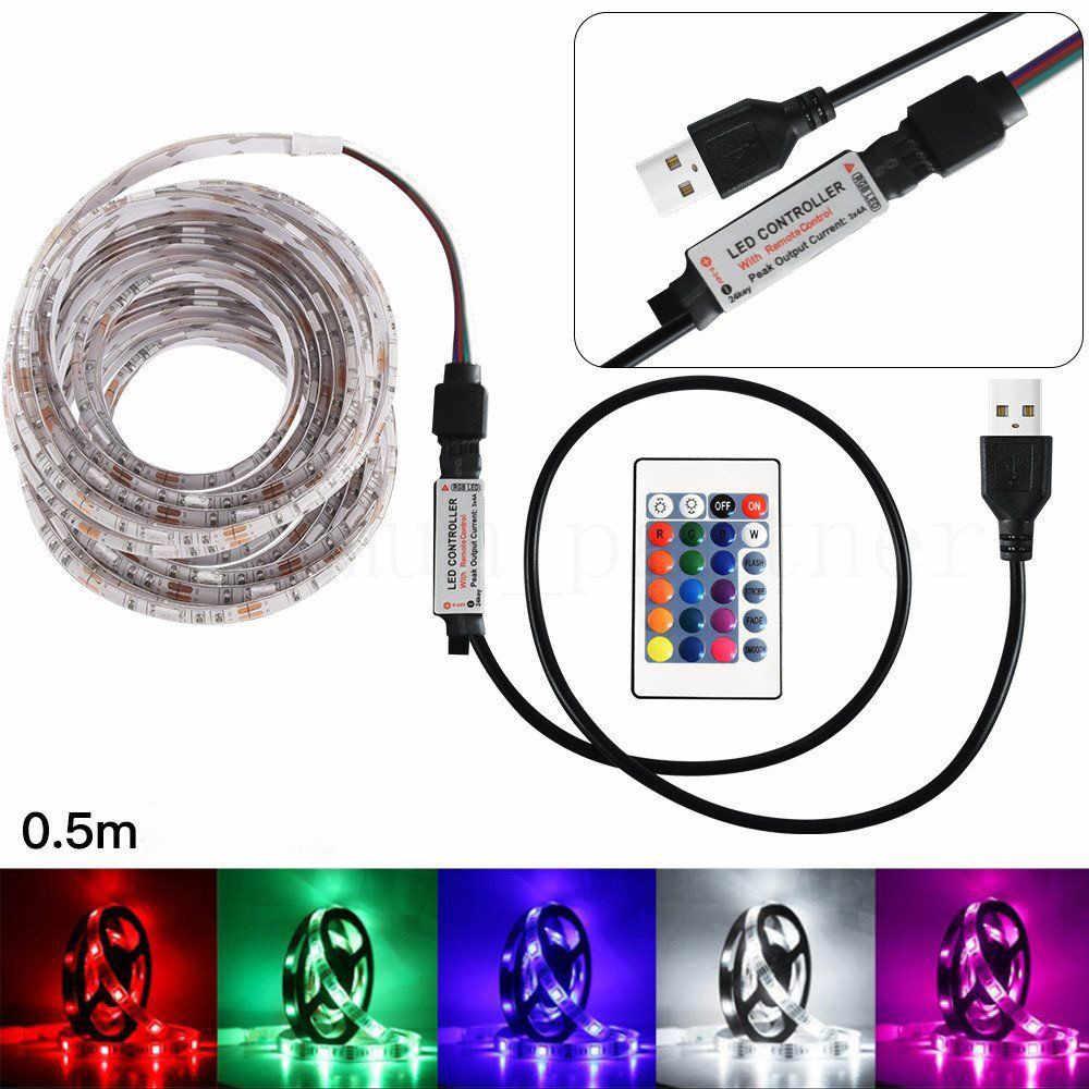 50-200 Cm USB Lampu Strip LED TV Kembali Lampu 5050RGB Warna Berubah + Remote Control