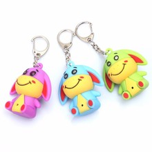 New 3 color cartoon donkey LED luminous keychain pendant Flashlight bag car key pendant creative gift free DHL wholesale