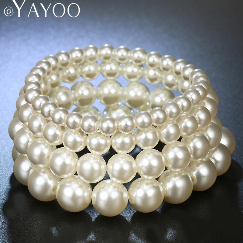 AYAYOO Charm Imitation Pearl Bead Buddha Bracelet White Color For Women Fashion Jewelry Bridal Wedding Accessories