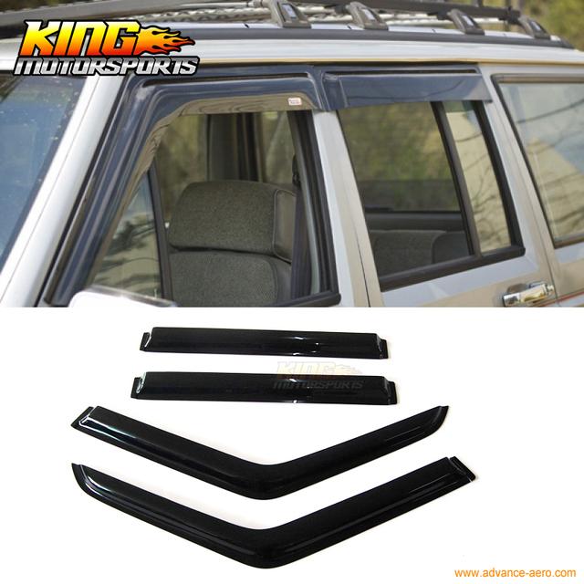 Para 84-01 Jeep Cherokee Janela Pala de sol Guarda Chuva Ventilação Sombra Fumaça Estilo Fino 4 Pcs