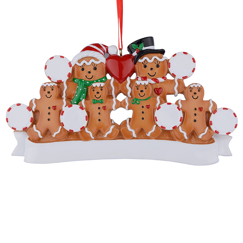 Partihandeln Gingerbreadfamilj av 6 Resin Julgransprydnader som personliga gåvor för Holiday Home Party Decoration