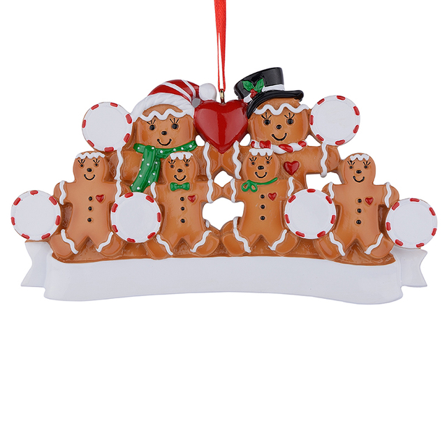 wholesale gingerbread family of 6 resin christmas tree ornaments as personalized gifts for holiday home party - Christmas Tree Ornaments Wholesale