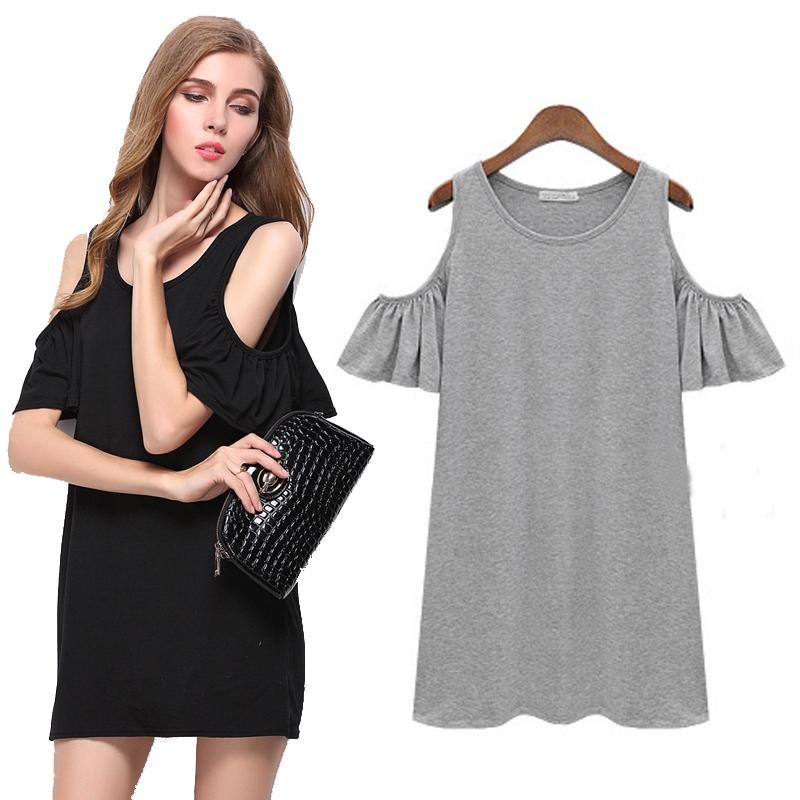 New Black Grey Summer Dress Solid Loose Women Dresses Hot Sale O-neck Ladies Beach Dress Casual Mini Vestido