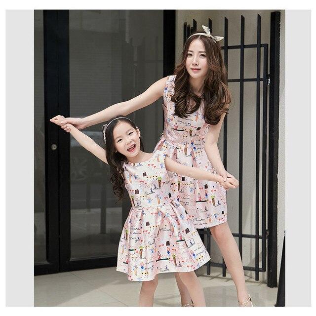 57905ab8e866 Corrispondenza madre figlia vestiti primavera estate ragazze coreane abito  senza maniche madre del vestito delle donne