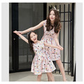 matching mother daughter clothes spring summer Korean girls sleeveless dress mother women's dress