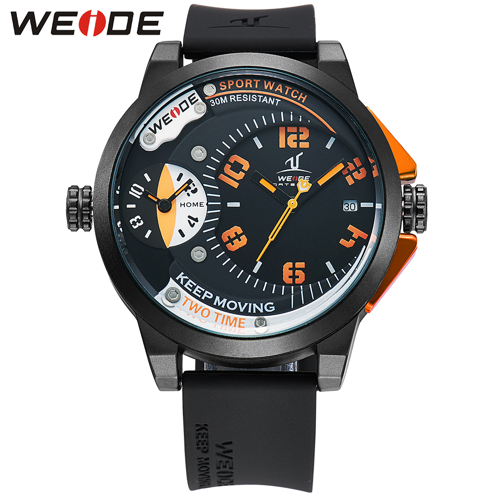 WEIDE Popular Brand Sports Watch Men Silicone band Watch Dual Time Stainless Steel Back Orange Number Quartz Movement Men Gift weide 5205 men led sports watch with stainless steel band