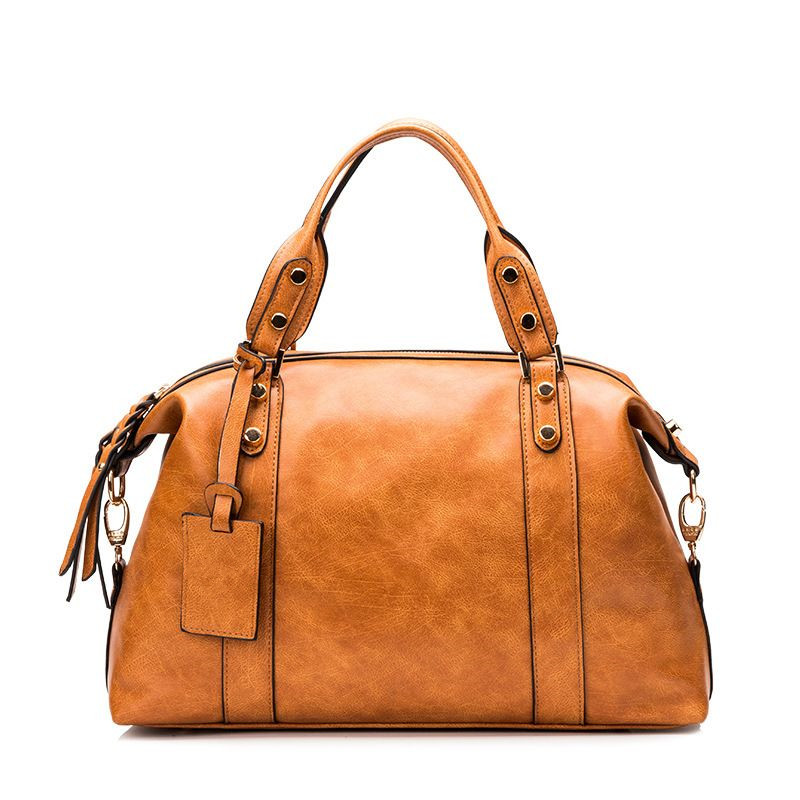 ФОТО Women Leather Bag\Handbag Fashion Retro Boston Pillow Bag 2017 New Simple Ladies' Tote Shoulder Bag Messenger Bag~13B229