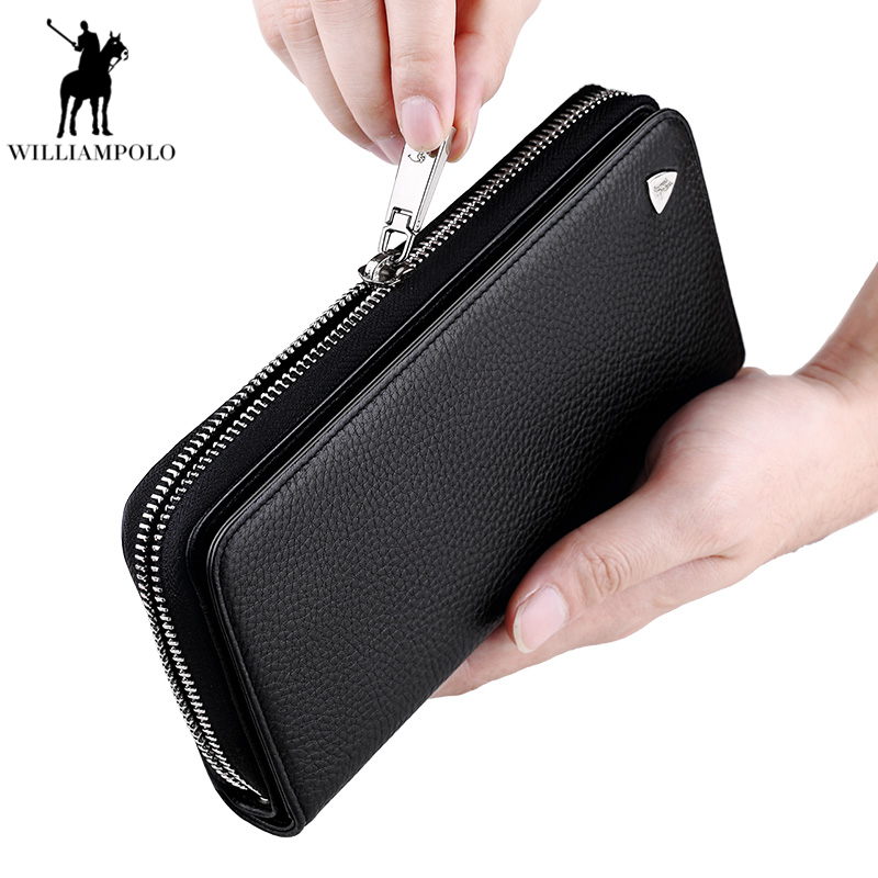 WILLIAMPOLO Famous Brand Genuine Cow Leather Men's Casual Wallet with Card Holder Man Long Purse Male Purse Free Shipping PL131 hot sale 2015 harrms famous brand men s leather wallet with credit card holder in dollar price and free shipping