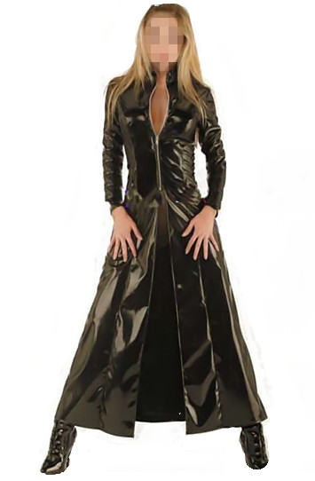 Fashion sexy plus size Vinyl Clubwear balck pvc faux   leather   long sleeves gothic long coat M7089