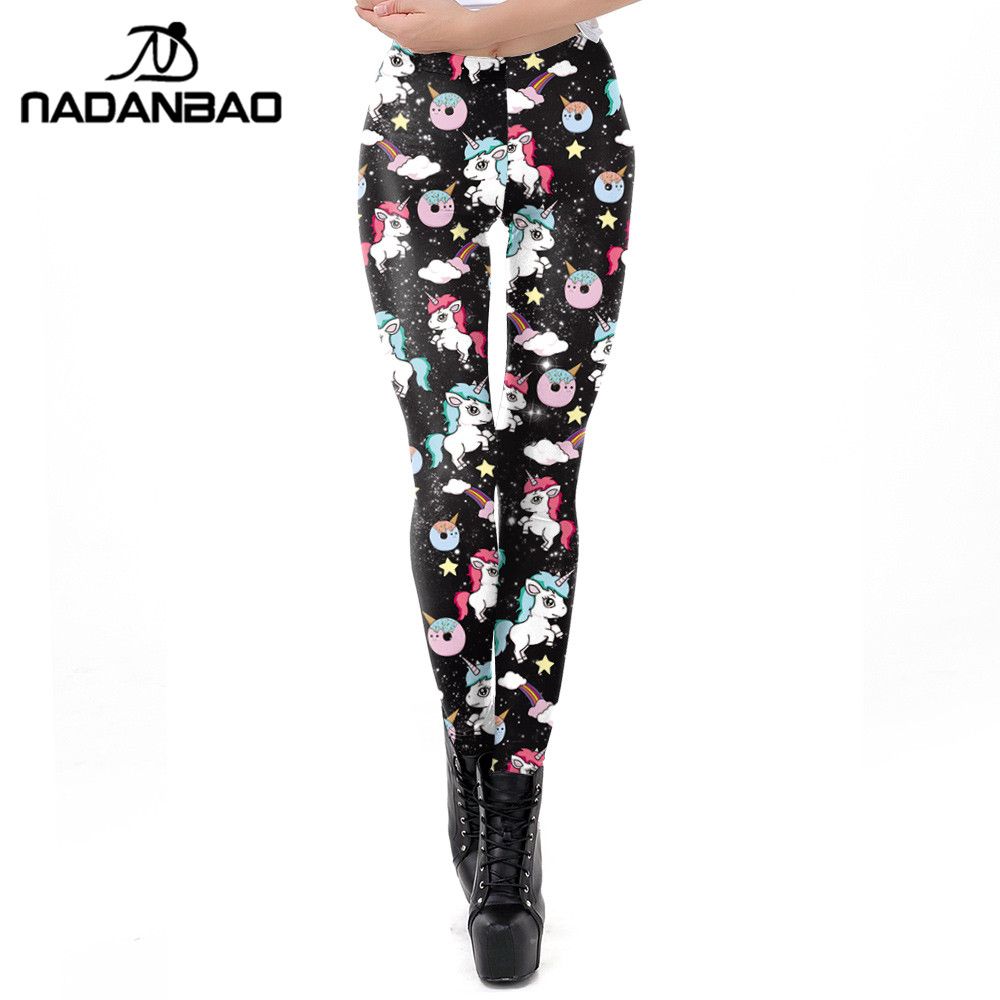 NADANBAO 2019 Spring Unicorn Leggings Women 3D Rainbow Printing Workout Legging Kawaii Flexible Fitness Leggins Plus Size Pants