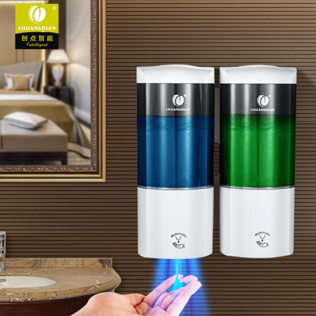 CHUANGDIAN Auto-Induction Liquid Soap Dispenser Free Punching Wall Mount  Double Soap Dispenser 500ml x2 Liquid Soap Dispenser free shipping brass black liquid soap dispenser bathroom kitchen stainless steel touch soap dispenser wall mounted 1000ml