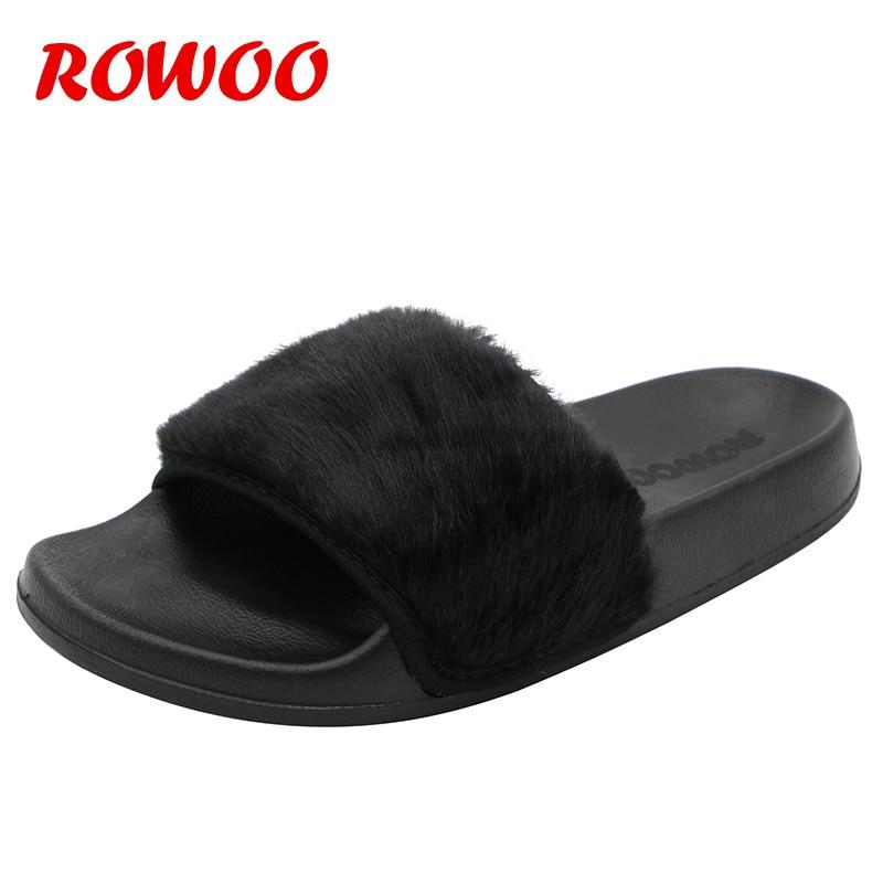 Ladies Luxury Faux Fur Open Toe Slipper