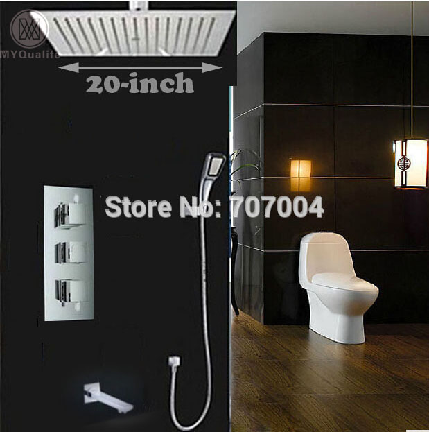 Ceiling Mount 20 Big Rainfall Shower Set Mixer Faucet Chrome Finish Thermostatic Mixer Valve with Handshower + Brass Tub Spout