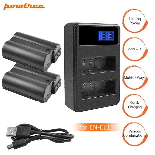 2 piezas EN-EL15 es EL15 ENEL15 EL15A baterías + LCD doble USB cargador para Nikon D600 D610 D600E D800 D800E d810 D7000 D7100 d750 L15