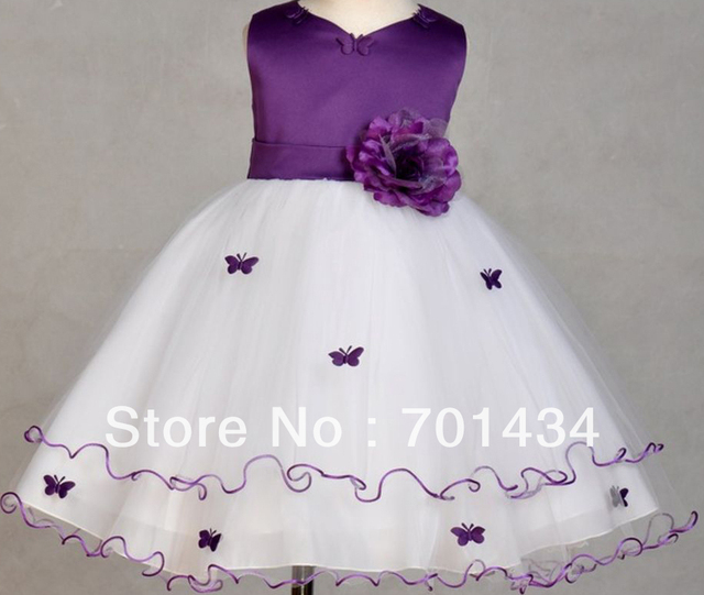 Süß Lila Junior Brautjungfer Kleid Satin schärpe Flowers Piping ...
