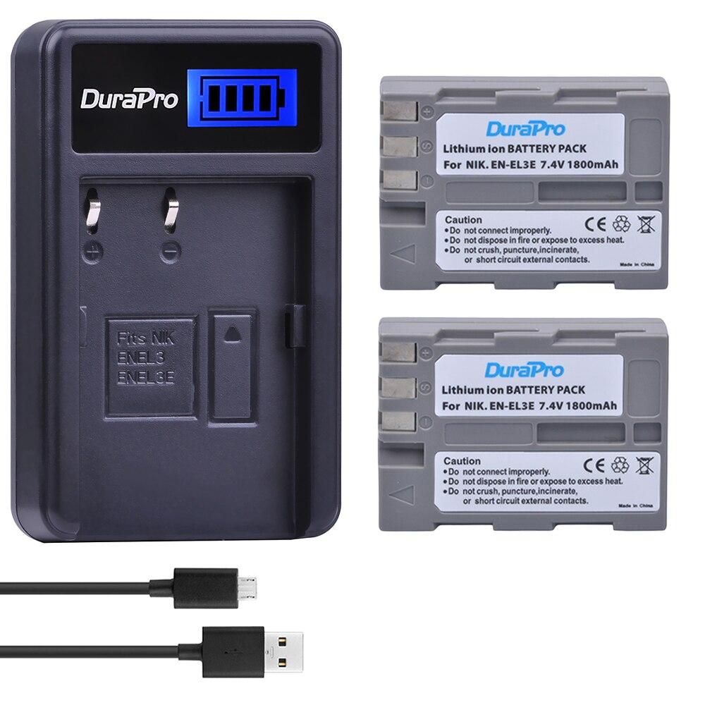 2 stücke EN-EL3E EN EL3e Wiederaufladbare Kamera Batterie + LCD USB Ladegerät Für Nikon D70 D70S D80 D90 D100 D200 d300 D300S D700 Kamera