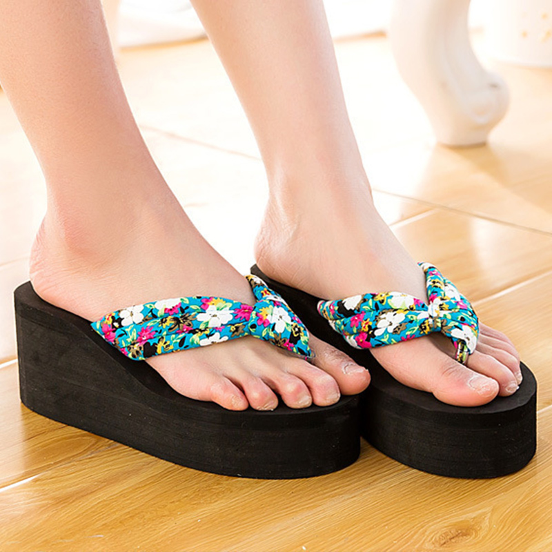 Wedges shoes platform women slippers 2018 summer new arrival elegant print flip flops cloth woman shoes size 35-40