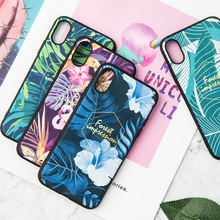 IMIDO New Fabric Plant Printing TPU Soft Silicone Case For iphone 6/7/8/X Cute Simple Anti-fall Lanyard Fashion Phone Back Cover
