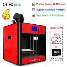 Tronxy Red 3D Printer kit FDM 3D Metal Dual Fans Dual Z Lead Screw Heatbed 3D Printering Size 210*210*210mm Full Metal Assembled