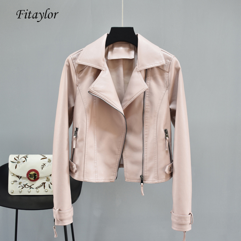 Fitaylor Faux Pu Leahter Women Autumn Black Punk Slim Short Jacket Motorcycle Biker Female Faux   Leather   Zipper Pink Outerwear