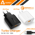 100% Original Aukey Quick Charge 2.0 18W USB Wall Charger Smart Fast Charging For iPhone iPad Samsung Galaxy Note Xiaomi free