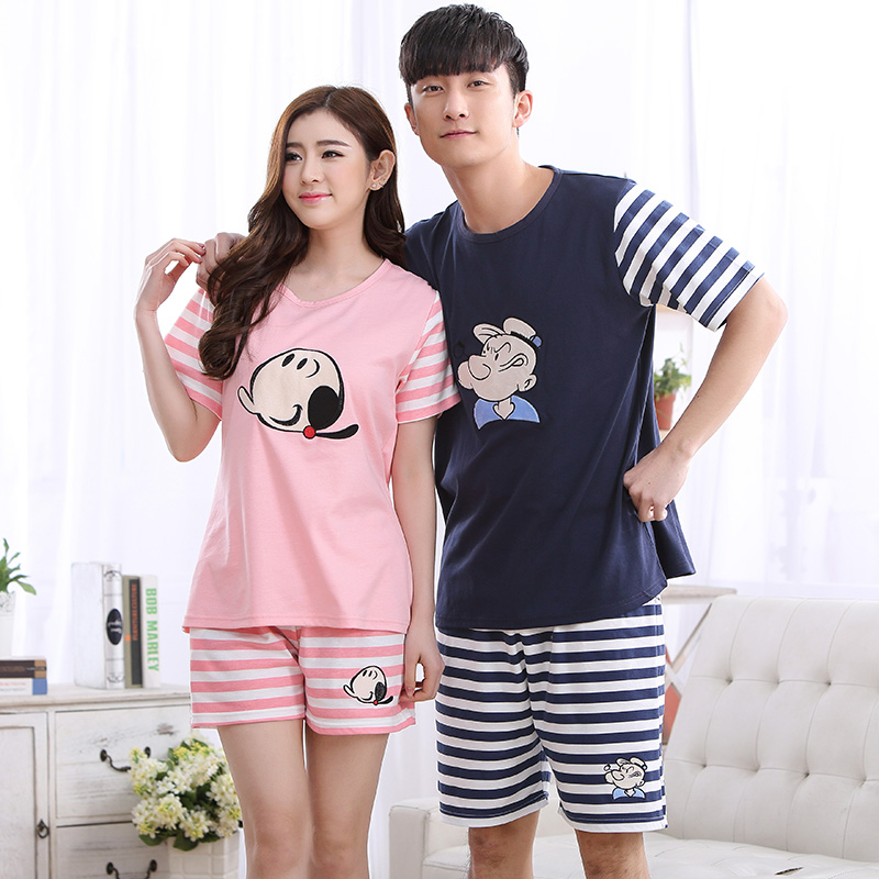 Summer Cotton Striped Pajama Sets Couples Sleepwear Women Pajamas Pijama Hombre Masculino Cartoon Pyjamas Men's Pajamas Homewear