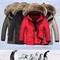 Abajo chaqueta 2016 nuevos niños y niñas grueso abrigo de cuello de piel de mapache