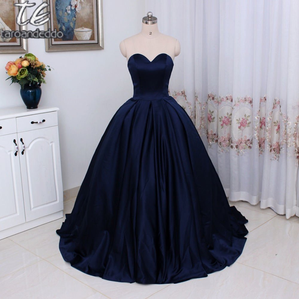Simple Style Sweetheart Long Satin Prom Dresses Ball Gowns Simple ...