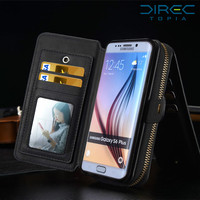 For Samsung S6 Edge Plus Case 2 In 1 Wallet Flip Case PU Leather Silicone Detachble