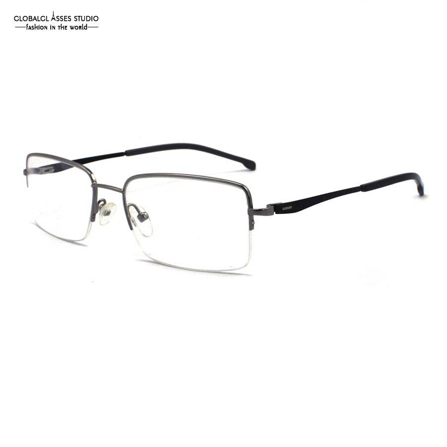 e0b150278f Mature Half Rim Metal Glasses Frame Silver Frame Slim Acetate Black Temple  Spring Hinge Optical EyeglassesSU1009 C2 .