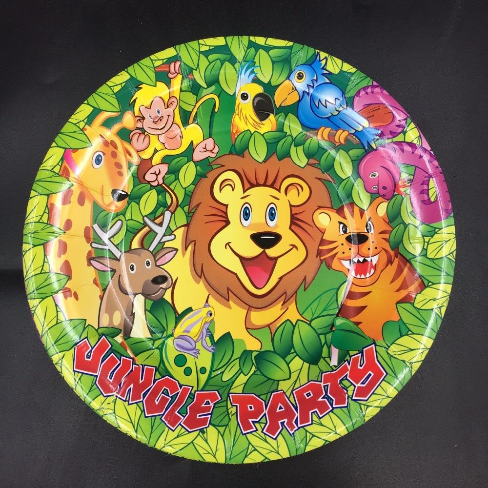 6pcs 7inch diameter 18cm Jungle King lion design Paper Plates for Kids Birthday Party Decoration Supplies