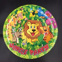 6pcs 7inch diameter 18cm Jungle King lion design Paper Plates for Kids Birthday Party Decoration Supplies