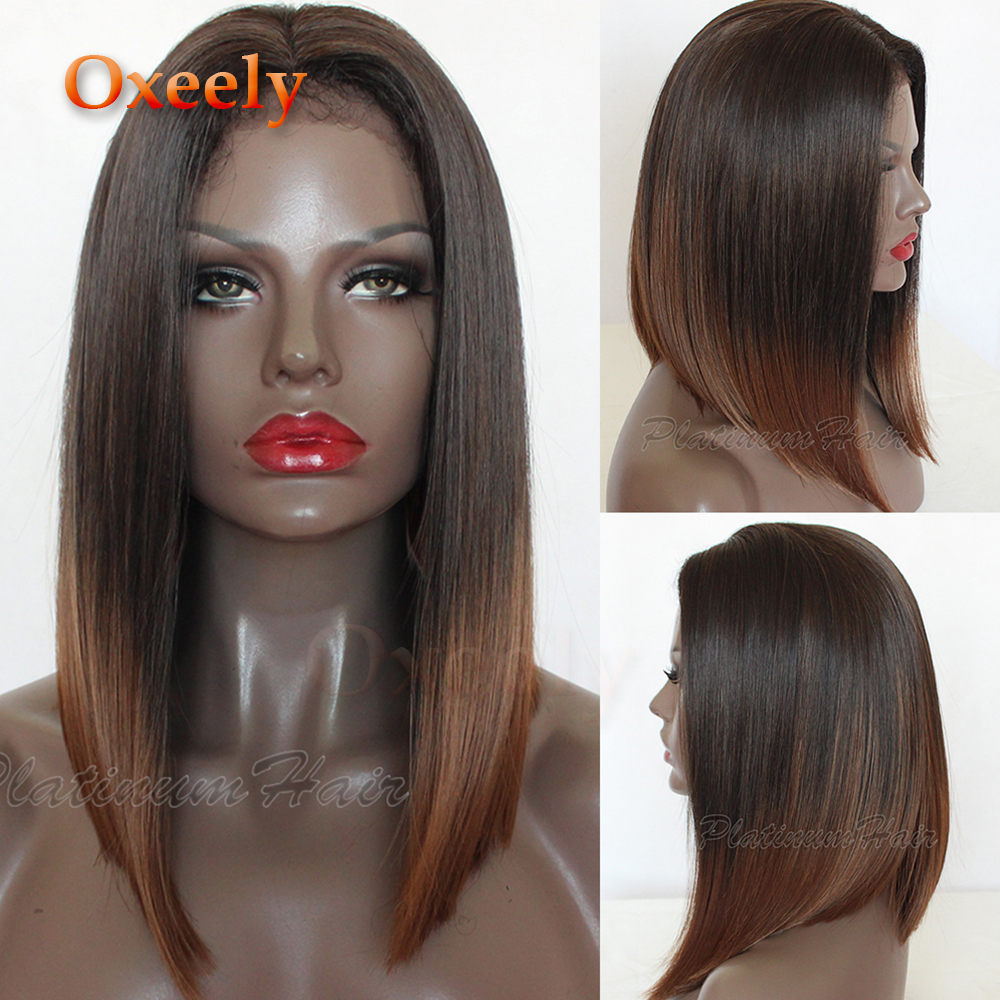 Oxeely Short Hair 4 30 Ombre Bob Straight Wig Synthetic Lace Front Wig Heat Resistant Brown
