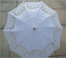 New Lace Parasol Do Laço Do Bordado do Algodão Casamento Muitas Cores Branco/Marfim Sol Guarda chuva Decorações 001