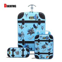 2019 Latest Cartoon 3 Piece Set of Trolley Bag Travel To School Trolley Case Traveling Luggage Bags with Wheels Climbing stairs