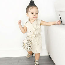 Fashion Toddler Kids Baby Girls Solid Sleeveless Trench Coat Autumn Winter Jacket Windbreaker Outerwear Clothes недорого