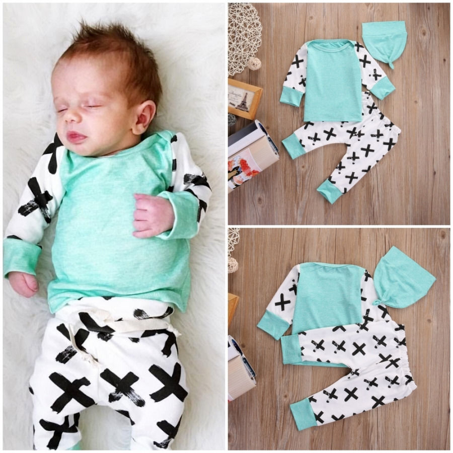 Newborn Baby Boys Girls Clothes Set Outfits Cotton T-shirt Long Sleeve Tops Print Pants Hat 3PCS Set Baby Girl Clothes autumn boys clothing set baby boys 3pcs set outfits black jacket long sleeve t shirt denim long pant children clothes boys 4