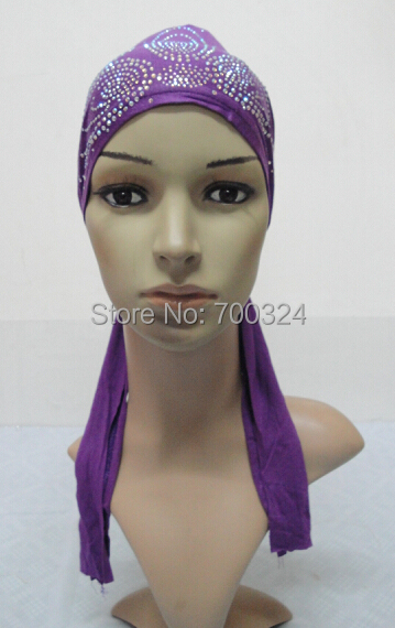 H790 latest cotton jersey muslim hats with rhinestones assorted colors
