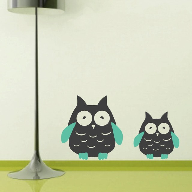 Owl Wall Decal Modern Adorable Twin Owl Wall Decor Children\'s ...