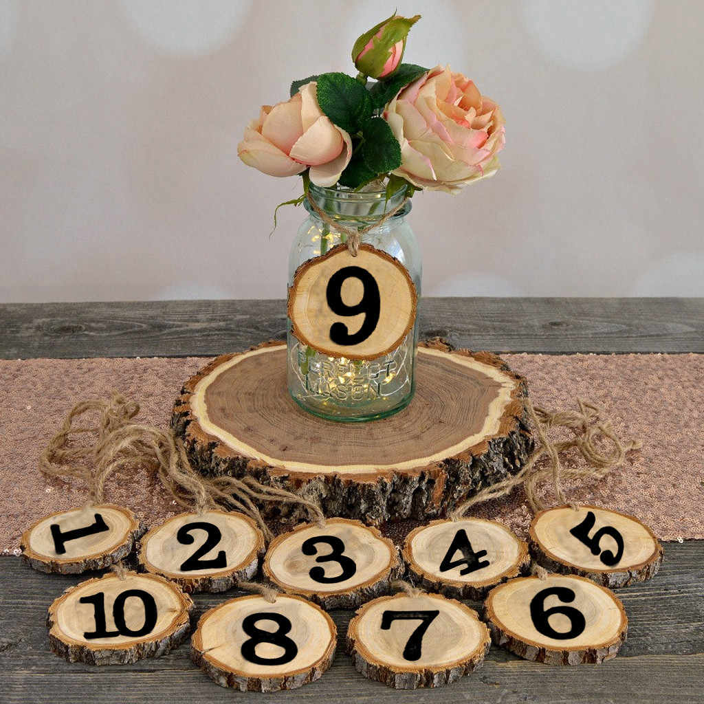 1-10 Numbers Rustic Wooden Hanging Ornament Table Number Figure Card Digital Seat Decor Wedding Party Supplies Home Decoration