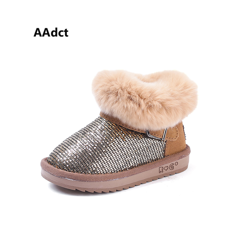 AAdct Cotton warm snow boots for glitter girls boots New fashion shinning girls boots 2018 Winter little kids boots non-slip aadct cotton warm children snow boots for glitter girls new fashion shinning short girls boots 2018 winter kids boots