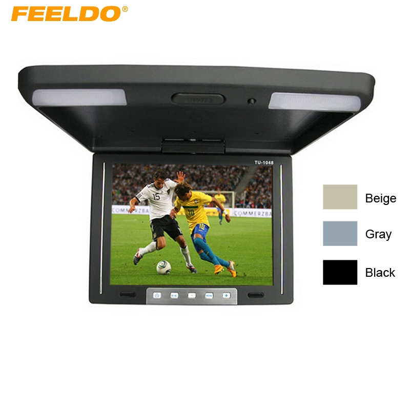 FEELDO 10.4 Inch Roof Mounted TFT LCD Monitor 2-Way Video Input Flip Down Car Monitor Built-In IR Transmitter #AM1283