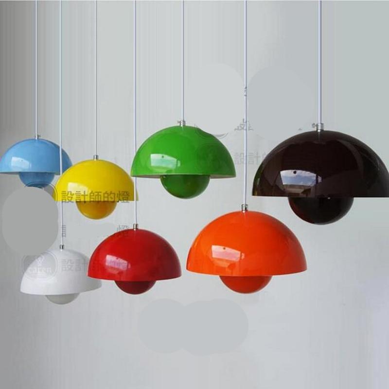 creative candy colors verner panton flowerpot aluminum led e27 pendant light for dining room. Black Bedroom Furniture Sets. Home Design Ideas