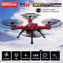 T5W 0.3MP drones com câmera FPV Drone RC Quadcopter helicóptero Wi-fi GPS 2.4g Remoto controlado por rádio quadrocopter Brinquedos para Meninos