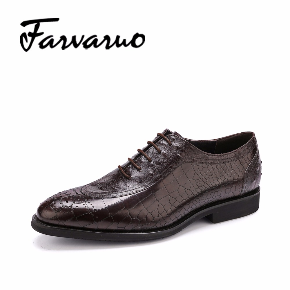 Mens Flat Dress Shoes Pointed Toe Casual Genuine Leather Oxford Brogues Crocodile Embossed Shoes Sapato Social Masculino Oxfords top quality crocodile grain black oxfords mens dress shoes genuine leather business shoes mens formal wedding shoes