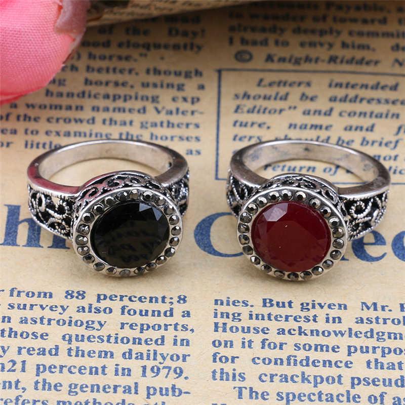 Porcellana Grande Anello Rosso Argento Romantico di Colore Della Resina Intagliato Anello per Le Donne Turchia Monili Best Regalo