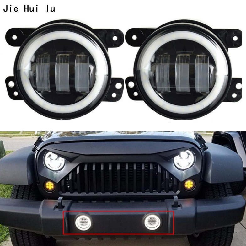 Car Lamp For Jeep Wrangler Pair 4 Inch 30W With Halo LED Fog Light Projector Lens DRL Daytime Running Light Lamp Bulb OffRoad