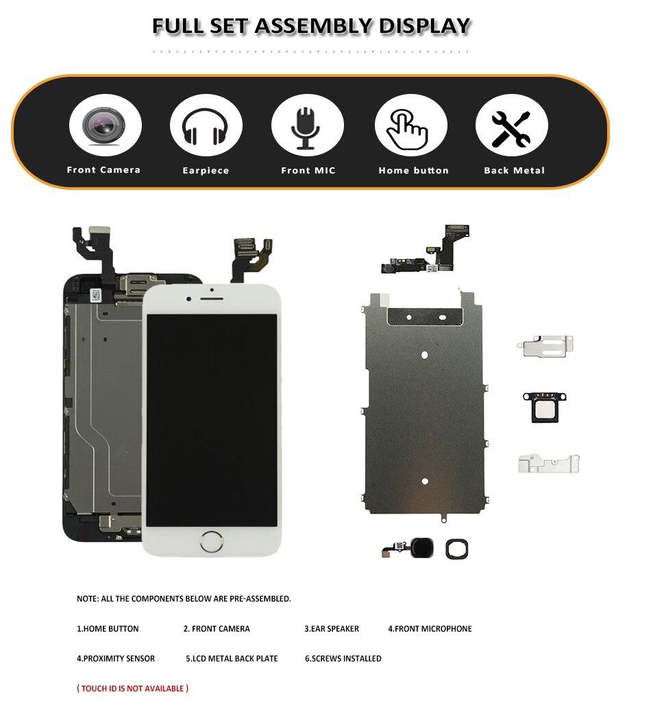 Image 2 - Полный комплект lcd для iPhone 6 S 6 S Plus lcd с домашней кнопкой фронтальная камера полная сборка Дисплей сенсорный экран дигитайзер Замена-in ЖК-экраны для мобильного телефона from Мобильные телефоны и телекоммуникации